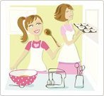 Cooking,Mother,Daughter,Baking,1950s Style,Domestic Kitchen,Family,Cake,Apron,Female,Food Processor,Hobbies,Polka Dot,Togetherness,Bowl,Love,Spoon,Activity,Sweet Bun,Cute,Smiling,Families,Happiness,Cake Mix,Blue Eyes,Illustrations And Vector Art,Lifestyle