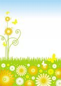 Springtime,Flower,Sky,Flower Head,Field,Backgrounds,Sun,Non-Urban Scene,Season,Butterfly - Insect,Summer,Art,Floral Pattern,Green Color,Grass,Blue,Freshness,Cloud - Sky,Day,Blossom,Insect,Vector Florals,Illustrations And Vector Art,Image,Beauty In Nature,Vector Backgrounds,Beauty,Nature,Animals And Pets,Plant,Outdoors,Insects,Flying