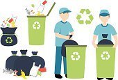 Cleaning,Collection,Garbage Can,Environment,Can,Bin/tub,Throwing,Recycling Symbol,Men,Forbidden,Garbage,Label,One Person,Recycling,Garbage Dump,Keep,Ilustration,Environmental Conservation,Green Color,Symbol,Vector