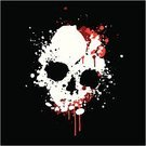 Human Skull,Blood,Splattered,Spray,Paint,Drop,Evil,Vector,Death,Computer Graphic,morbid,Digitally Generated Image,White,Ilustration,Red,Black Background,No People,Colors,Color Image