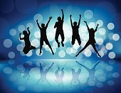People,Activity,Motion,Excitement,Friendship,Happiness,Joy,Teamwork,Togetherness,Lifestyles,Outdoors,Dancing,Ecstatic,Jumping,Party - Social Event,Multi Colored,Sky,Summer,Dusk,Silhouette,Healthy Lifestyle,Fun,Adult,Illustration,Celebration,Group Of People,Males,Men,Females,Women,Vector,2015