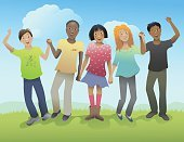 Child,Multi-Ethnic Group,Pre-Adolescent Child,Holding Hands,Friendship,Early Teens,Sharing,African Ethnicity,Ilustration,Care,Learning,Latin American and Hispanic Ethnicity,Asian Ethnicity,Humor,Winning,Affectionate,Success,Vitality,Hill,Positive Emotion,Laughing,Green Color,Joy,Smiling,Pink Color,Beautiful,Blue,Sunlight,Lifestyle,Illustrations And Vector Art,Babies And Children,Teens,Caucasian Ethnicity,Beauty