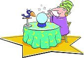 Fortune Teller,Crystal Ball,Circus,Fortune Telling,Guru,Cartoon,Luck,Entertainment Tent,Side Show,Paranormal,Forecasting,Relationships,Mystery,Artificial,Vector Cartoons,People,Lifestyle,Illustrations And Vector Art,Table,Bird