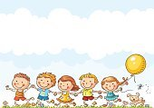 Child,Pets,Drawing - Art Product,Characters,Group Of People,Walking,Playing,Cartoon,Dog,Summer,Frame,Nature,Cloud - Sky,Happiness,Fun,Sky,Outdoors,Springtime,Playful,Blank,Balloon,Copy Space,Empty,In A Row,Meadow,Friendship,Childhood,Puppy,Running,Ilustration,Cute,Little Girls,Little Boys,Grass