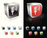 Microphone,Radio,Symbol,Sound,Sound Wave,Announcement Message,Three-dimensional Shape,Computer Icon,Red,Reflection,Orange Color,Square Shape,Wave Pattern,Green Color,Blue,Modern,Metal,Volume,Empty,Shadow,template,Shiny,Focus on Shadow,Black Background,White Background,Sparse