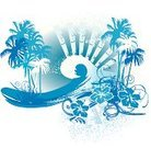 Hawaii Islands,Surfing,Wave,Palm Tree,Surf,Hibiscus,Sea,Summer,Backgrounds,Grunge,Illustrations And Vector Art