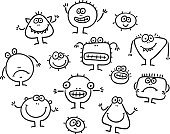Small,Drawing - Art Product,Character Trait,Characters,Furious,Emotion,Ilustration,Sketch,Cartoon,Set,Vector,Line Art,Black And White,Evil,Anger,Outline,Collection,Isolated,Simplicity,Cute,Monster,Alien,Happiness,Sadness,Cheerful,Ugliness,Virus,Clip Art