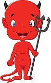 Devil,Evil,Halloween,Demon,Cute,Smiling,Cartoon,Characters,Fun,Men,Mythology,Pitchfork,Red,Monster,Mascot,Happiness,Cheerful,Ilustration,Standing