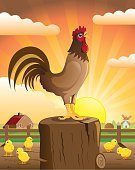 Gate,Agriculture,Rooster,Sunset,Cereal Plant,Sunlight,Biological Culture,Bird,Crowing,Outdoors,Healthy Lifestyle,Dawn,Clock,Morning,Farmhouse,White Meat,Sun,Small,Ilustration,Nature,Rural Scene,Scenics,Male Animal,Animal,Singing,Sunrise - Dawn,Healthy Eating,Farm,Vector,Landscape,Breakfast,Chicken - Bird,Chicken,Alarm Clock,Vegetable,Poultry,Landscaped,Baby Chicken,Cockerel,Watermill,Village,Crying,Cultures,Pets,Young Bird
