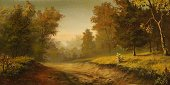 Landscape,Paintings,Road,Painted Image,Forest,Footpath,Paint,Fog,Walking,Scenics,Rural Scene,Fairy Tale,Night,Sunrise - Dawn,Woodland,Heaven,Tree,Ancient,Looking Through Window,Art,Shadow,The End,Autumn,Wood - Material,Yellow,Weather,Coniferous Tree,Looking At View,Landscapes,Loneliness,Solitude,Illuminated,Nature,Morning,Summer,Arts And Entertainment,Overcast,Oil-paint,Romance,Visual Art,Deterioration,Scotch Fir,Summer