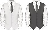 Formalwear,Suit,Vector,classic design,Ilustration,White,Button Down Shirt,Tied Knot,Front View,Black Color,Male,Waistcoat,Tie,Fashion,Clothing,Office Interior,Style