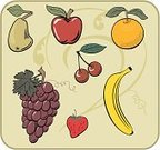 Banana,Cherry,Fruit,Strawberry,Orange - Fruit,Grape,Apple - Fruit,Pear,Food,Ilustration,Red,Vector,Orange Color,Healthy Choices,Food And Drink,Illustrations And Vector Art,Fruits And Vegetables,vitamin rich,Green Color,Vegetarian Food,Bartlett Pear,Healthy Lifestyle,Purple,Healthy Eating