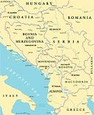 Cartography,Map,Balkans,Serbia,Skopje,Pristina,Lake Ohrid,Adriatic Sea,Coastline,Belgrade - Serbia,Lake Prespa,Sarajevo,Italy,Romania,Republic Of Macedonia,Croatia,state,Zagreb,podgorica,republic,Montenegro,Bosnia and Hercegovina,Kosovo,Albania,World Map,Travel,Midsection,Tirana,Country - Geographic Area,Greece,Europe,Danube River,otranto,Hungary