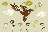 Tulip,Bird,Magpie,Flying,Ornate,Silhouette,Vector,Retro Revival,Single Flower,Flower,Flower Head,1940-1980 Retro-Styled Imagery,Backgrounds,Elegance,Growth,Spotted,Leaf,Cloud - Sky,Ilustration,Brown,Decoration,Art Deco,Wing,Design,Green Color,Style,Springtime,Computer Graphic,Plant,Modern,Cute,Sparse,Composition,Nature,Digitally Generated Image,Tawny,Beige,Simplicity,Clip Art,Animals And Pets,Animal Backgrounds,Beautiful,Nature,Beauty,Nature Backgrounds,Birds,Beauty In Nature,Classical Style