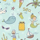 Mermaid,Nautical Vessel,Doodle,Palm Tree,Sea,Seamless,Summer,Sunglasses,Fun,Sailing Ship,Construction Frame,Decoration,Water,Ornate,Design,Vector,Pattern,Humor,Vacations,Blue,Beach,Domestic Cat,Childishness,Multi Colored,Cocktail,Backgrounds,Anchor,Starfish,Sun,Ship,Seagull,Ice Cream,Whale
