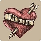 Ribbon,Tattoo,Old-fashioned,Retro Revival,Passion,Arrow,Hate,Spotted,Beauty,Drawing - Activity,Design,Wedding,Love,Tied Knot,Abstract,Ilustration,Romance,Valentine's Day - Holiday,Backgrounds,Valentine Card,Pointing,Decoration,Sign,Symbol,Computer Graphic,Greeting,Vector,Human Heart,Flirting,Engraved Image,Holiday,Style,Dating