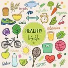 Cereal Plant,Sport,Dieting,Eating,Backgrounds,Vector,Drinking Water,Vegetable,Lifestyles,Food,Ilustration,Air,Bread,Juice,Multi Colored,Alarm Clock,Tennis,Walking,Freshness,Tree,Positive Emotion,Routine