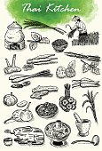 Drawing - Art Product,Woodcut,Spice,Plant,Lemon Grass,Soup,Thailand,Farmer,Set,Cilantro,Cooking,Rice - Food Staple,Food,Drawing - Activity,Noodles,Inside Of,Herb,Healthy Lifestyle,Crop,Kaffir,Menu,Turmeric,Coconut,Old-fashioned,Thai Ethnicity,Heat - Temperature,Root,Cooking Pan,Thai Culture,Field,Galangal,Harvesting,Grater,Garlic,Outline,Cultures,yum,Ingredient,Basil,Kitchen,Watercolor Paints,Mortar and Pestle,Vegetable,Lime,Chili Pepper
