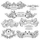 filigree,Vector,Swirl,Ornate,Document,Decoration,Calligraphy,Abstract,Baroque Style,Greeting,Certificate,Invitation,typographic,Vignette,Wedding,premium,Married,Ilustration,Label,Security
