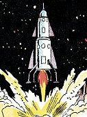 Futuristic,Vertical,Space Travel Vehicle,Flying,Taking Off,Rocket,Space,Star - Space,Illustration,Pop Art,2015,Off,Off,planet x