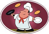 Preparation,Commercial Kitchen,Cooking Pan,Food,Restaurant,Chef,Cooking,Pancake,Tossing,Art,Uniform,red tie,Plate,Fun,Skill,Confidence,Chef's Hat
