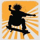 Skateboarding,Silhouette,Child,Sport,Extreme Sports,Pre-Adolescent Child,Dirty,Teenager,Grunge,Human Hair,Jumping,Spray,Stunt,Flying,Mid-Air,Splattered