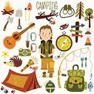Camping,Backpack,Adventure,Symbol,Equipment,Hiking,Outdoors,Tree,Sign,Vector,Forest,Ilustration,Bonfire,Picnic,Firewood,Label,Binoculars,Sport,Little Boys,Vacations,Fire - Natural Phenomenon,Lantern,Computer Graphic,Exploration,Insignia,Summer