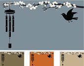 Wind Chime,Cherry Blossom,Japanese Culture,Zen-like,Blossom,Woodcut,Wind,Bird,Animal,Tranquil Scene,Nature,Wildlife,Environment,Nature,Animals And Pets,Illustrations And Vector Art