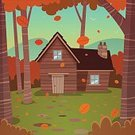 Cabin,Shack,House,Outdoors,Flock Of Birds,Landscape,Hut,Built Structure,Chimney,Day,Mountain,Nature,Wood - Material,Tree Trunk,Bird,Falling,Tree,Woodland,Branch,Vacations,Leaf,Rural Scene,Backdrop,Backgrounds,Season,Autumn,Cartoon,Ilustration,Vector,Orange Color