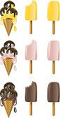 Ice Cream,Flavored Ice,Ice Cream Cone,Chocolate Sauce,Symbol,Dessert,Food,Vector,Frozen,Ilustration,Chocolate Ice Cream,Religious Icon,Banana Pop,Dairy Product,Strawberry Ice Cream,Group of Objects,Frozen Sweet Food,Set,Computer Icon,Mocha Ice Cream,Cherry Ice Cream,Cute,Sweet Food,Raspberry Ice Cream,Vector Icons,Orange Ice Lolly,Peach Ice Cream,Raspberry Pop,Food And Drink,Butter Pecan Ice Cream,White Background,Isolated On White,Illustrations And Vector Art,Dairy Products,Cold - Termperature