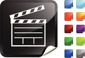 Film Slate,Entertainment,Filming,Symbol,Computer Icon,Movie,Film,Blue,Black Color,Green Color,Label,Vector,Digitally Generated Image,Shiny,Design,Page Curl,Orange Color,Red,Film Industry,Ilustration,Directing,Purple