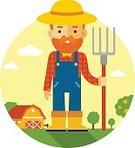 Gardening,Holding,Harvesting,Hillbilly,Occupation,Caucasian Ethnicity,Hat,Agriculture,Men,Characters,Straw,Pitchfork,Gardening Equipment,Cheerful,Barn,Manual Worker,Vegetable Garden,Beard,Cartoon,Cute,Food,Fun,Standing,Farm,Isolated,Computer Icon,Symbol,White,Crop,Landscape Gardener,Rural Scene,Job - Religious Figure,One Person,Art,Male,Flat,Smiling,Happiness,Red,People,Backgrounds,coverall,Vector,Boot,Little Boys,Ilustration,Mustache,Farmer
