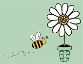 Bee,Bumblebee,Cartoon,Honey,Single Flower,Honey Bee,Flower,Daisy,Flower Pot,Cute,Potted Plant,Flying,Polka Dot,Insect,Busy,Spotted,Springtime,Vector,Ilustration,Drawing - Art Product,Clip Art,Happiness,Working,Pollen,Smiling,Yellow,Plant,Blue,Pencil Drawing,Black Color,Animals In The Wild,Wing,Nature,Copy Space,Joy,Vector Cartoons,Illustrations And Vector Art,Animals And Pets,Insects,Animal Backgrounds