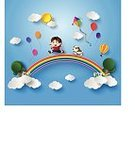 Playing,Child,Toy,Freedom,Hovering,Pulling,Flying,Ilustration,Vector,Elegance,Hobbies,Stratosphere,Kite - Toy,Running,Cartoon,Zero Gravity,Childhood,Air,High Up,Control,Sky,Happiness,Cloud - Sky,Clip Art,Computer Graphic,Multi Colored,Togetherness,Little Boys,Fun,Activity,Cute
