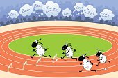Sheep,Running,Stadium,Insomnia,Cartoon,Sport,Sleeping,Animal,Snoring,Ilustration,Animal Sport,Vector,Vector Cartoons,Illustrations And Vector Art,Characters,Napping,Group Of Animals
