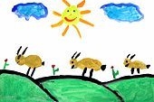Paintings,Sun,Watercolor Painting,Drawing - Art Product,Drawing - Activity,Flower,Cartoon,Smiling,Goat,Paint,Ilustration,Sketch,Smiley Face,Hill,Season,Animal,Field,Gouache,Springtime,Color Image,Grazing,Sunlight,Humor,Blue,Fun,Yellow,Happiness,Small,Cloud - Sky,Cheerful,Red,Visual Art,Arts Abstract,Arts And Entertainment,Green Color,Pasture,Candid