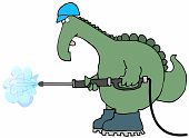 Washing,Power,Physical Pressure,Dinosaur,Steam,Garden Hose,Cleaning,Reptile,Animals And Pets,Lizard,Amphibians,Objects/Equipment,Prehistoric Era,Industrial Objects/Equipment,Hardhat,Animal Tongue,Tail,Animal Scale