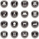 Chair,Furniture,Sofa,Computer Icon,Icon Set,Armchair,White,Vector,Closet,Vase,Table,Bookshelf,Bed,Ilustration,Television Set,Electric Lamp,Drawer,Shelf,Black Color,Decoration,Fuel and Power Generation,Interface Icons,Shiny