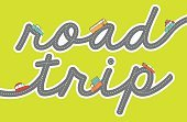Road Trip,Vacations,Ilustration,Pen And Marker,Vector,Single Word,Cute,Land Vehicle,Adventure,Multi Colored,Highway,Handwriting