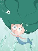 Mermaid,Cartoon,Child,Fish,Cute,Vector,Animal,Human Hair,Seaweed,Small,Teenage Girls,Sea,Computer,Water,Mythology,Ilustration,Human Face,Human Eye,Characters,Starfish,Women,Moving Up,Fantasy,Bubble,Cheerful,Green Color,Curve,Star Shape,Fun,Beauty,Female,Blue,Animal Fin,Tail,Vibrant Color,Illustrations And Vector Art,Image,Tail Fin,Nature,Bright,Creativity,Smiling,One Person,Nature Symbols/Metaphors,Stem,Vector Cartoons,Bodies Of Water