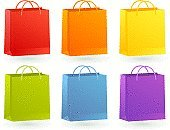 Shopping Bag,Paper Bag,Shopping,Green Color,Retail,Purple,Blue,Orange Color,Yellow,Red,Colors,Color Image,Objects with Clipping Paths,Isolated Objects,Illustrations And Vector Art,Concepts And Ideas