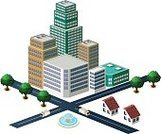 Skyscraper,Residential District,Cityscape,City,Street,Building - Activity,Urban Scene,Penthouse,Apartment,Vector,Town,City Of Center,Isometric,Supermarket,Townhouse