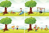 Fun,Toy,Rope,Grass,Vector,Tree,Childhood,Child,Scenics,Clip Art,Outdoors,Series,Little Boys,Collection,Computer Graphic