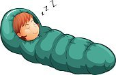 Sleeping Bag,Resting,Relaxation,Sleeping,Child,Computer Graphic,Clip Art,White Background,Comfortable,Snoring,Wool,Vector,Vacations,Warming Up,Camping,Heat - Temperature,Equipment