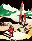 Discovery,Exploration,Futuristic,Vertical,Airplane,Space Travel Vehicle,Flying,Rocket,Space,Land,Astronaut,Space Suit,Illustration,Pop Art,Moon Surface,2015,planet x