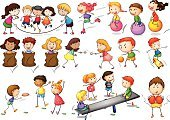 Boxing,Seesaw,Sport,Plastic Disc,Vector,Skateboarding,Fun,Child,White Background,Clip Art,Series,Collection,Little Boys,Computer Graphic