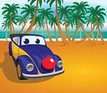 Volkswagen,Convertible,Type 1,Animated Cartoon,Cartoon,Summer,Sand,Palm Tree,Beach,Volkswagen Beetle,Clown,Clown's Nose,Beetle