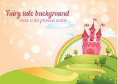 Fantasy,Princess,Child,Brick,Flag,Gate,Tower,Vector,Blue,Window,Dreamlike,kingdom,Cute,Architecture,Footpath,Residential District,Fort,Pink Color,Computer Graphic,Ilustration,Fairy Tale,Grass
