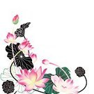 Lotus Water Lily,Water Lily,Flower,Single Flower,Vector,Pink Color,Black Color,Leaf,Branch,Plant,Springtime,Nature,Design Element,Green Color,Growth,Freshness,White Background,Vector Florals,Flowers,Illustrations And Vector Art,Nature