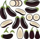 Set,Isolated,Exoticism,Ilustration,Abstract,Red,Vector,Cutting,Vegetable,Food,Symbol,Design Element,Eggplant